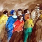 les marcheurs-aquarelle-brou de noix-14/14cm