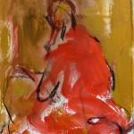 La tunique rouge - huile sur papier- 15 X 25cm
