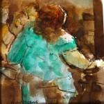 En coulisse - aquarelle - brou de noix - 9 X 9cm
