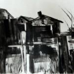 cabanes près de la rivière-monotype-18/34cm