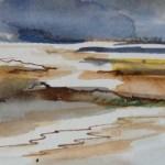 marée basse-aquarelle brou de noix-